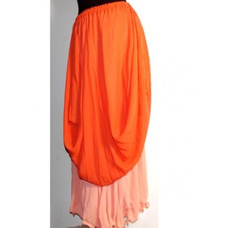 Falda danza 2 Capa Naranja/Salmon