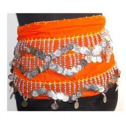 Pañuelos danza del vientre Nilo Naranja