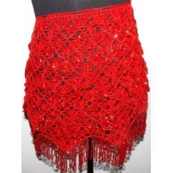 Cinturón danza arabe pedrería Rojo