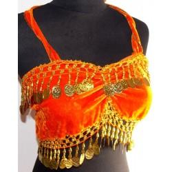 Top danza del vientre Cleopatra Naranja