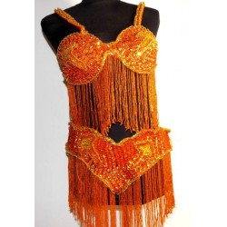 Traje danza del vientre Lúxor naranja