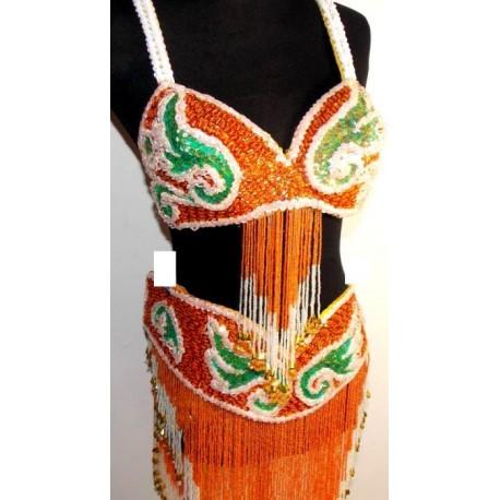 Traje danza del vientre Amira naranja